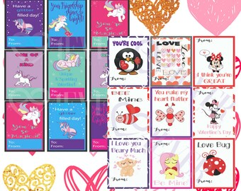 Digital Valentine's Day Cards with Unicorns and Puns, customizable by request, Minnie Mouse, Disney, other characters available