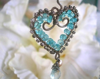 MAUI WATERFALL - Heart Pendant - Sterling, Apatite, Aquamarine, Pearl, Handmade Thai Beads