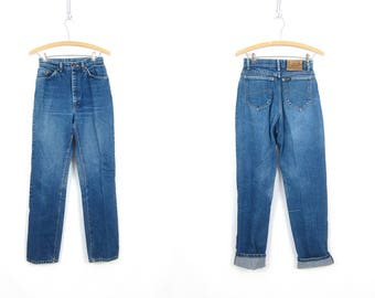 80s Mom Jeans High Waist Jeans Washed Out Denim Tapered Vintage Jeans Distressed Faded Dark Blue Denim Womens Size 26 x 31