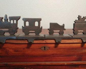 Iron Locomotive Christmas Stocking Mantel Hangers