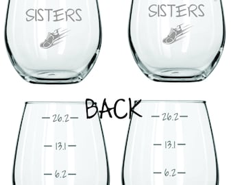 Sole Sisters Running Glass Choose Stemless, Wine, Beer, Rocks, Coffee FREE Personalization