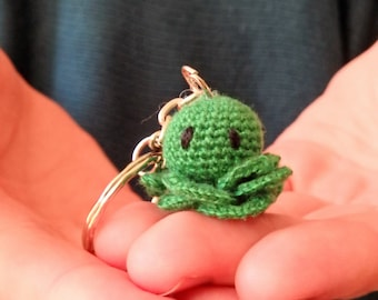 Otcopus Amigurumi Keychain, Green Crochet Zipper Charm,Handmade Keyring