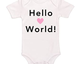 Hello World Bodysuit, Cute Funny Baby Clothes For Boys And Girls