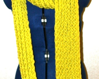 Bright yellow-green, long, soft scarf
