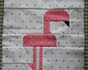 Easy Peasy Wonderland Flamingo block by Nellie's Niceties