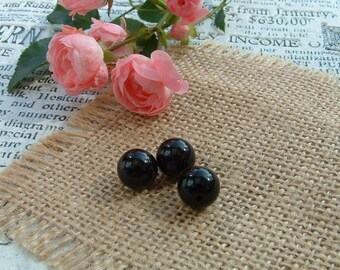 Set of 3 black ONYX 10 mm round shape beads