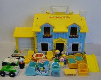 Fisher Price Play Family House from 1969 Made in USA Little People House and Furniture Cars Dog and Baby