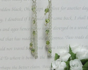 Silver Earrings with Peridot and Crystal - EAR003