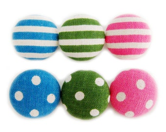 Sewing Buttons / Fabric Buttons - 6 Large Fabric Buttons Set - Dots and Stripes - Fabric Covered Buttons