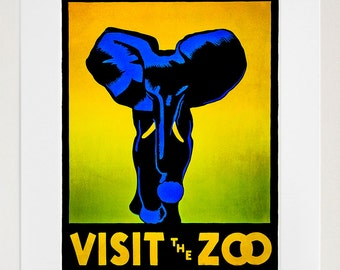 Travel Art Poster Zoo Elephant Print Vintage Home Decor (ZT197)