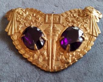 Vintage Art Deco Czech Ornate Purple Paste Crystal Sash Pin