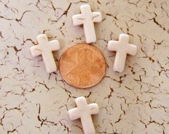 CROSSES Cream Colored Howlite Stone Tiny Craft, Jewelry Supplies (4 Pieces)