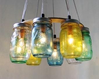Mason Jar Chandelier, Sea Glass Mason Jar Lighting Fixture, Rustic Hanging Mason Jar Pendant Lamp, Bulbs Included