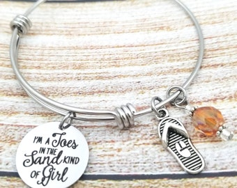 Toes in the sand Customizable Expandable Bangle Charm Bracelet, beach jewelry, sandals, flip flops, barefoot