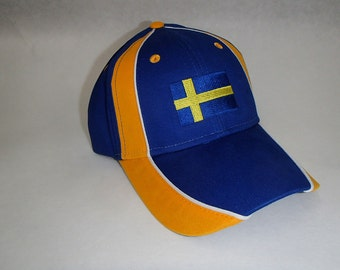 Embroidered Baseball Cap Hat with Sweden Swedish Flag #CP5576