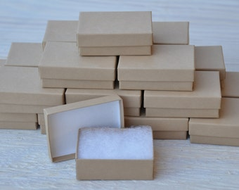 20 Gift Jewelry Boxes 3.25x 2.25x1 Kraft / Oatmeal Brown Retail Presentation with Cotton Fill Size 32