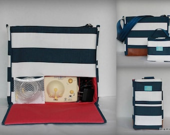 XS Ella style Breast Pump Bag in Navy Stripe print with rust vinyl accents front and back