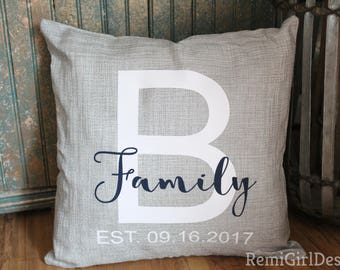 Family pillow, Last name pillow, wedding pillow, monogram pillow, personalized pillow, custom pillow, letter pillow, wedding gift