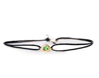 Tsavorite gemstone bracelet, 14k solid gold, dainty gemstone bracelet, gift idea