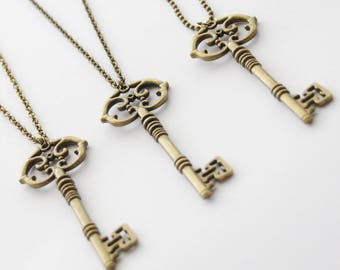 Skeleton Key Necklace, Long Key Necklace, Long Boho Necklace, Long Layering Necklace, Key Jewelry, Choose your chain, Grad Gift ideas