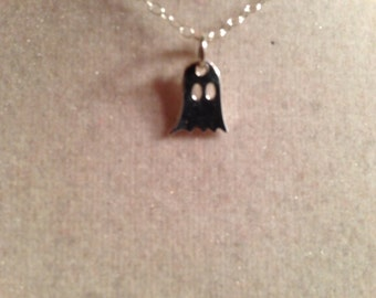Ghost Necklace - Halloween Jewelry - Sterling Silver Jewellery - Trick or Treat - Chain - Dainty