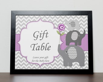Elephant Girl Baby Shower Gift Table Sign Decor (50pg) Instant Download