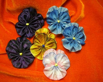 Pile Of Pansies Assorted Colors Ribbon Flowers