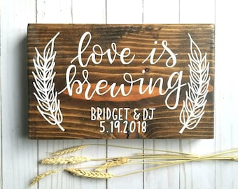 Love is Brewing   Wedding Shower   Wood Sign   Hand Painted   Home Decor   Hops