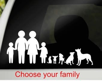 Car family decal, family & pet decal, family pet decal, personalized decal for car, family car decal, car window cling, vinyl silhouette