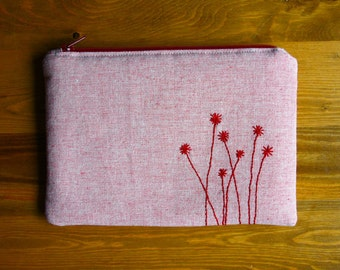 Embroidered flower, zipper pouch, embroidered pouch, floral pouch, rustic clutch, mother's day gift, birthday gift, jewelry bag