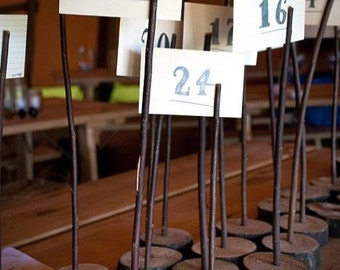 16 Wooden Table Number Holders  - Wedding - Rustic  /  Vintage  /  Wood Numbers Tables