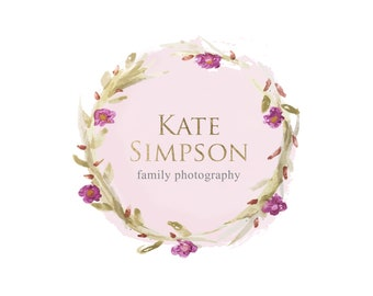 Premade logo, Watercolor logo, Blog logo, Blog header, Personalized Logo, Header, Watercolor header, Wreath Logo, Logo design, Floral, Roses