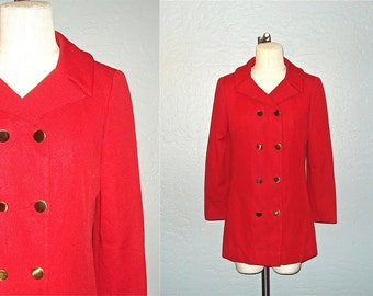 Vintage 70s jacket FRED ROTHSCHILD red double breasted peacoat - M