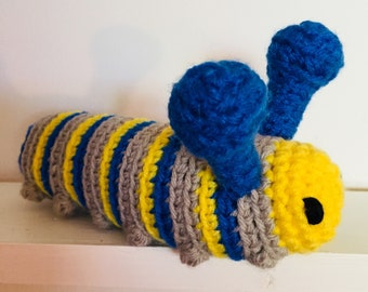 Crochet caterpillar, knit caterpillar, caterpillar plush, caterpillar toy, caterpillar doll, caterpillar softie, crochet insect toy, bug toy