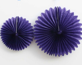 Purple tissue paper pinwheel fan.  8 inch or 12 inch.  Purple party decorations.  Purple pinwheel fan.  Baby shower decor.  Bridal shower.
