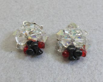 Austrian Crystal Clip Earrings, Clear Aurora Borealis Faceted Beads Mixed with Black and Red
