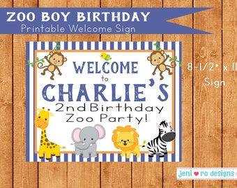 Zoo boy birthday - Printable Welcome sign!  Personalization included!