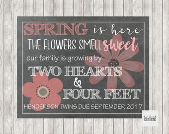 Digital TWINS Chalkboard Spring Pregnancy Announcement | Baby Announcement