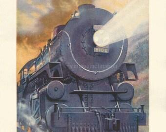 Vintage train bookplate print 1933, Railway Engines of Many Lands 1, antique steam locomotive trains ephemera otive ephemera