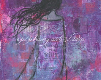 "Fine Art Print - 8"" x 10"" Giclee Magic Wall Decor Art - ""Warrioress"" Divine Feminine, Dark Night of the Soul, Wind Swept, Ocean Tide Purple"