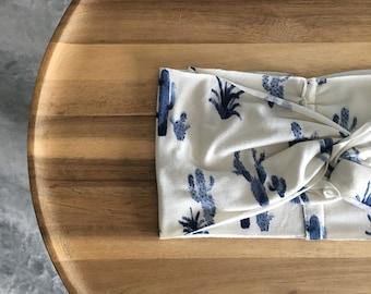 Baby/Toddler Blue Cactus Turban Headband