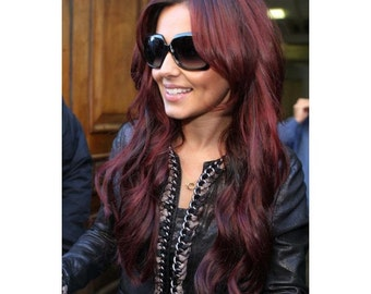 "WOW Syn High Heat Clip In or Flip In Halo Hair Extensions 22"" 100g #530 Cheryl Cole Red/Burgundy/Red Wine"