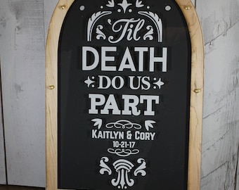 Personalized Guest Book/Top Drop Frame/Alternative Guest Book/Tombstone/Wood Shapes/Alternative Guest Book/Guest Book/Til Death /Halloween