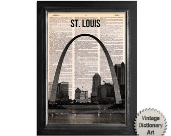St. Louis Missouri - Cityscape printed on Recycled Vintage Dictionary Paper - 8x10.5 Dictionary Art Print