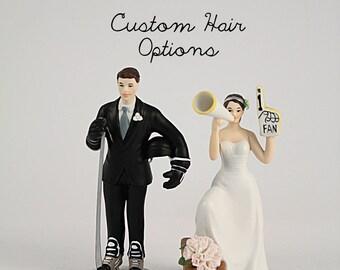 Custom Wedding Cake Topper - Hockey Wedding Cake Topper - Sports Wedding - Porcelain Wedding Cake Toppers - Personalized - Bride and Groom