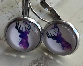 Handmade earrings, Leverback, stainless steel, deer, blue, pink, purple, Evy necklaces