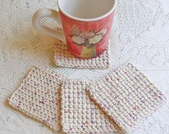 Drink Coasters - Crochet Coasters - Handmade Coaster Set - Handmade Coasters - Cottage Style Decor - Rustic Decor