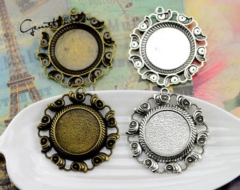 10pcs Zinc Alloy 25mm Round Bezel Cup Cabochon Mountings, lacework findings, Round Cabochon Pendant Base, Jewelry Pendant Blanks Suppliers
