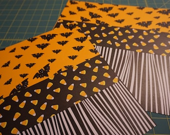 OOAK Flying Bats - Candy Corn - Zebra Stripes 12 x 12 Scrapbook Pages - 2 Page Set