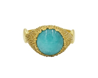 Amazonite Serenity Ring, Large Gemstone Ring, Statement Ring, Amazonite Ring, Peaceful Ring, 10mm Gemstone Ring, Pastel Ring, Chunky